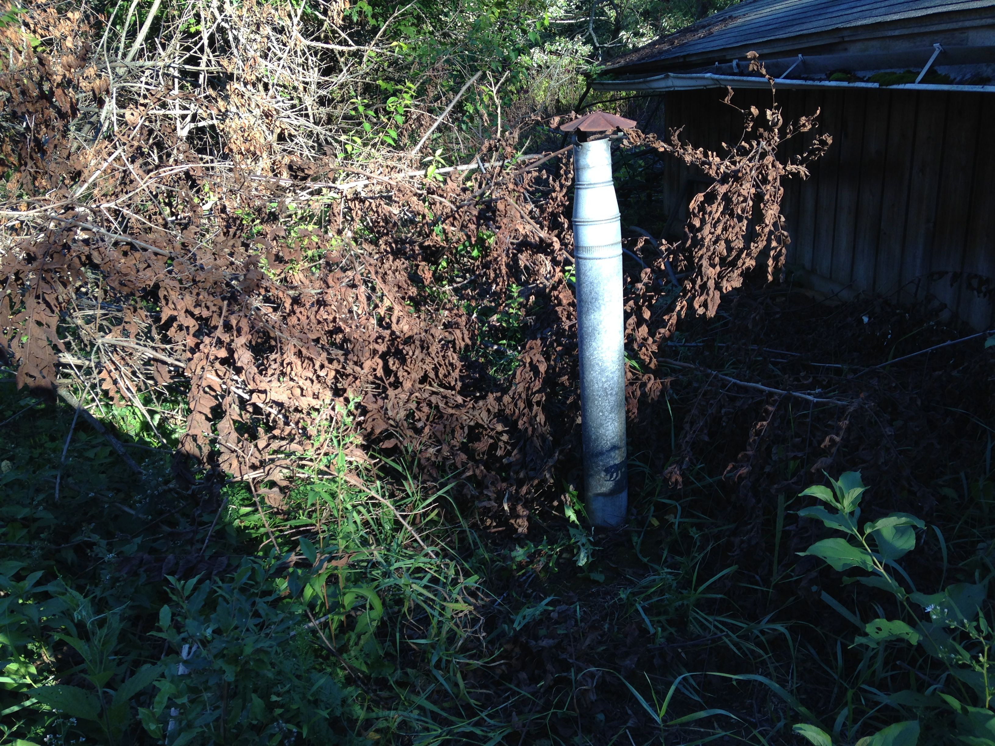 External view of root cellar exhaust vent.